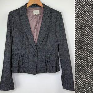 LOFT Herringbone Ruffle Blazer Size 8 Gray Jacket